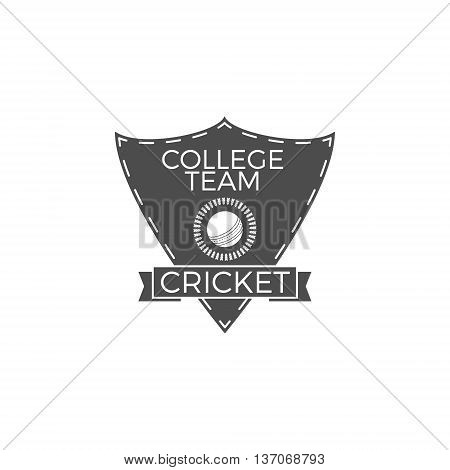 Cricket college team emblem and shield. Cricket team logo design. Cricket club badge. Sports symbols with cricket gear, equipment. Use for web design, tee design or print on t-shirt. Monochrome.