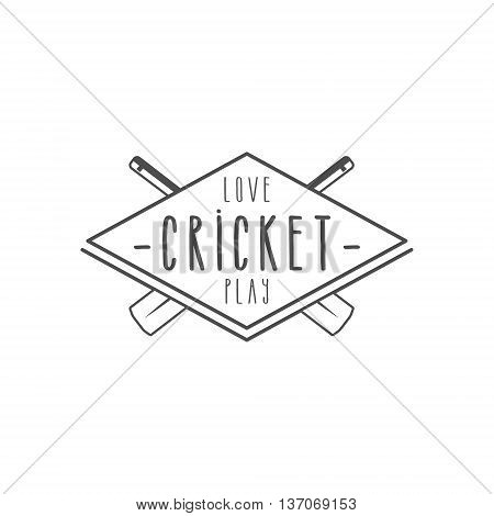 Cricket club emblem and design elements. Cricket team logo design. Cricket line stamp. Sports symbols with cricket gear, equipment. Use for web design, tee design or print on t-shirt. Monochrome.