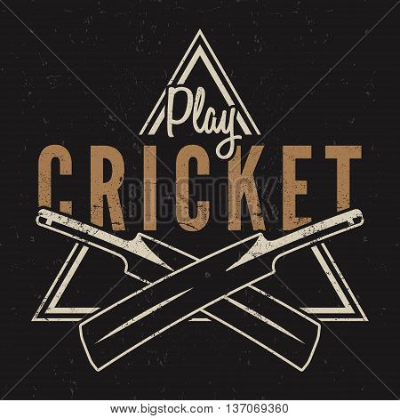 Retro cricket emblem design. Cricket logo icon design. Cricket badge. Sports logo symbols with cricket gear, equipment. Cricket tee design. Tee shirt emblem. T-Shirt prints retro style. Vector.