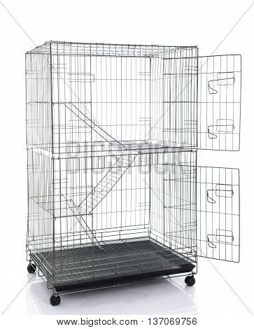 Wire cat crate or animal cage on white background isolated