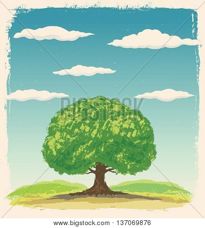 Graphic tree on a background summer landscape with clouds in the sky.