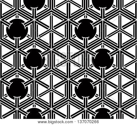 Endless monochrome symmetric pattern graphic design. Geometric intertwine optical composition.
