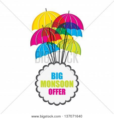 Big monsoon offer banner design with colorful umbrella vector