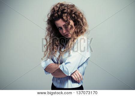 Portrait of a sad woman
