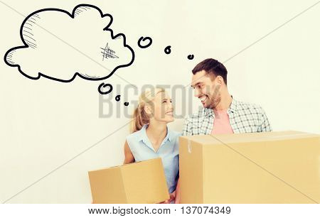 home, people, repair and real estate concept - happy couple holding cardboard boxes and moving to new place with empty blank text bubbles