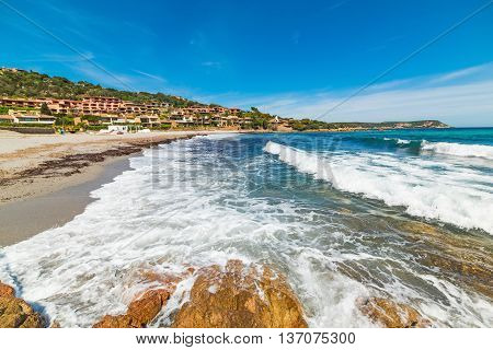 waves in Piccolo Pevero beach in Sardinia