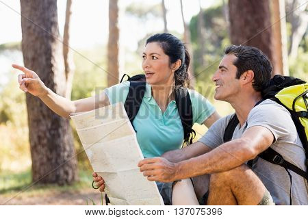 Couple sitting and holding a map on the wood