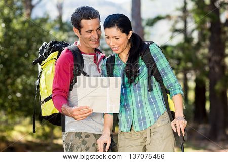 Couple hiking and studying a map on the wood