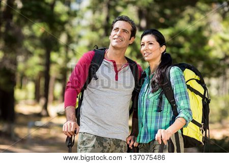 Couple looking something during a hike on the wood