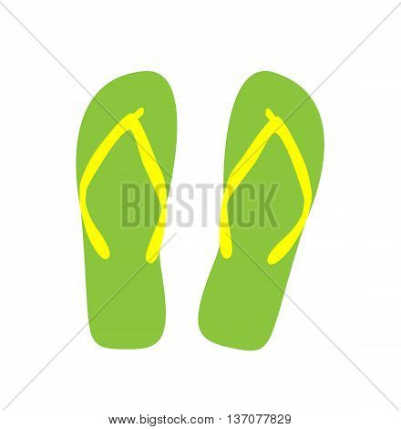 Pair of flip-flops. Vector illustration. green color