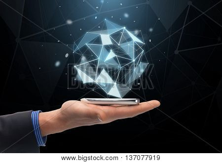 technology, business, virtual reality, people and communication concept - close up of man hand holding smartphone with virtual low poly shape projection over black background