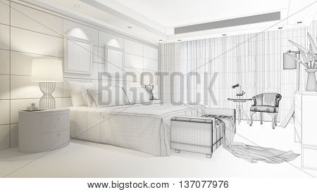 CAD planning of hotel room with bed and furniture (3D Rendering)