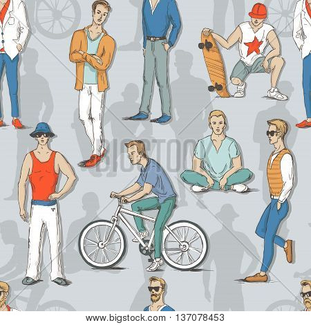 Seamless pattern with young guys in sketch style. A man in a suit the guy with the skateboard a bike and a guy sitting in the lotus position. Vector illustration for greeting card poster or print on clothes.