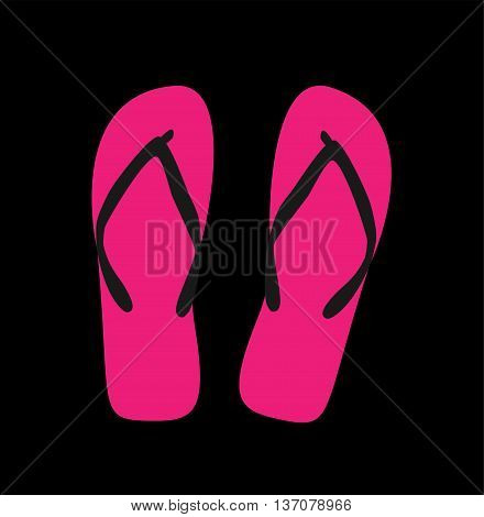 Pair of flip-flops. Vector illustration, pink color