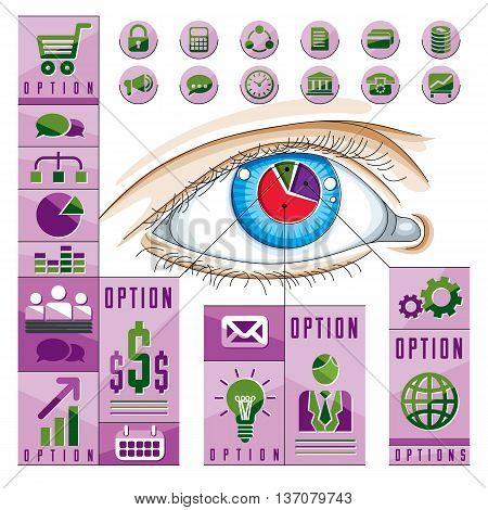 Creative Infographics, Human Eye, Looking Eye Idea, Vector Illustration.
