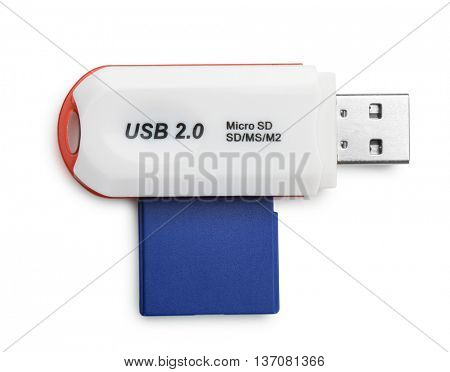 Top view of USB card reader isolated on white