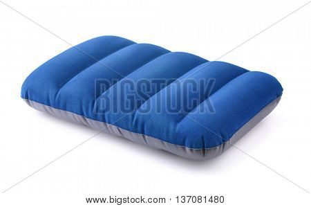Blue  inflatable pillow isolated on white
