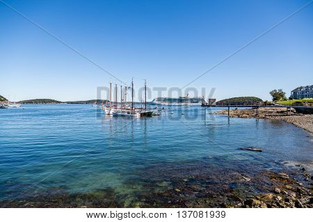 Three masted schooners moored in Bar Harbor Maine