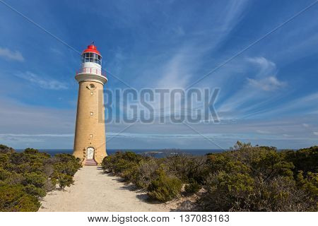 Cape du Couedic Lighthouse station in Flinders Chase National Park on Kangaroo Island, South Australia with blue sky and Ocean view
