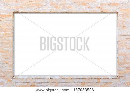 Blank White Billboard On Brick Wall.
