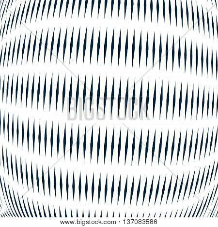 Moire pattern op art background. Relaxing hypnotic backdrop with geometric black lines. Abstract vector tiling.