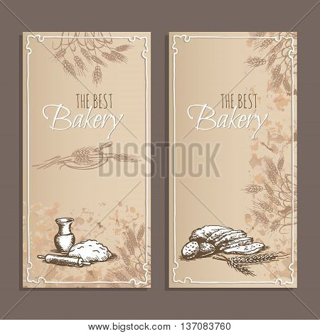 Best bakery cards. Menu cards for bread products of the restaurant cafe or bakery with hand drawn sketches. Vector illustration.