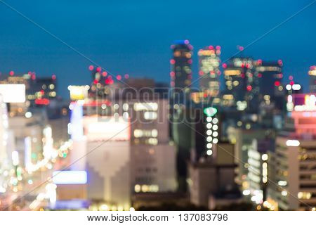 Abstract City Blurred In Night For Background.