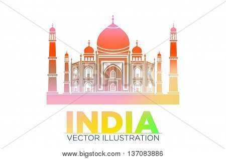 Taj Mahal Vector Symbol Design Red Color Polygonal Mosaic Style.monument Of Love At India.