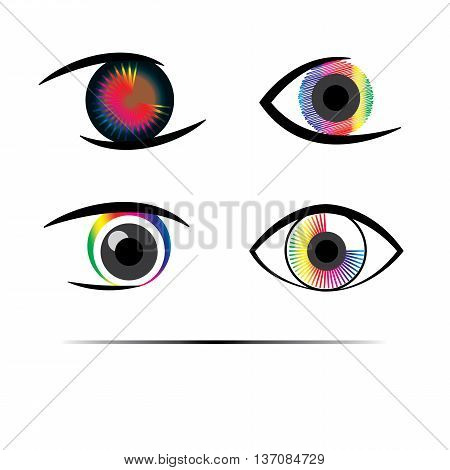 Abstract Eyes colorful four different logo set