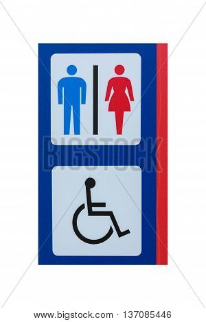 Toilet Sign For Men Women And Cripple Isolated On White