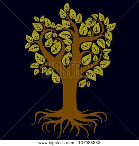 Vector Art Illustration Of Branchy Tree With Strong Roots. Tree Of Life Symbolic Image, Ecology Cons