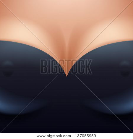 Beautiful woman breast boobs with decollete in black clothes background vector illustration. Female girl tits closeup with nipples. Good for sex shop erotic cover flyer poster design for adults.