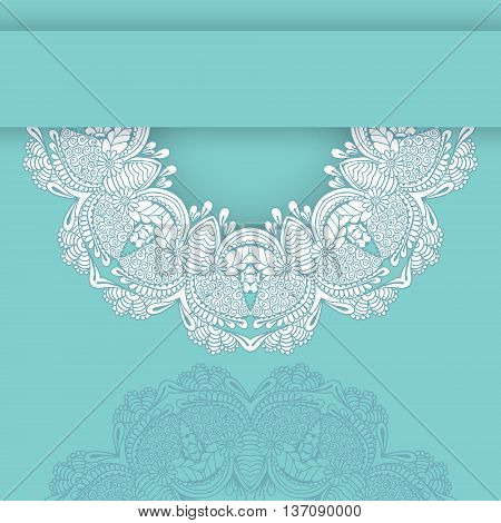 Card with lace circular ornament. Floral round pattern for the greeting cards invitation wedding design business style cards or else. Vector illustration.