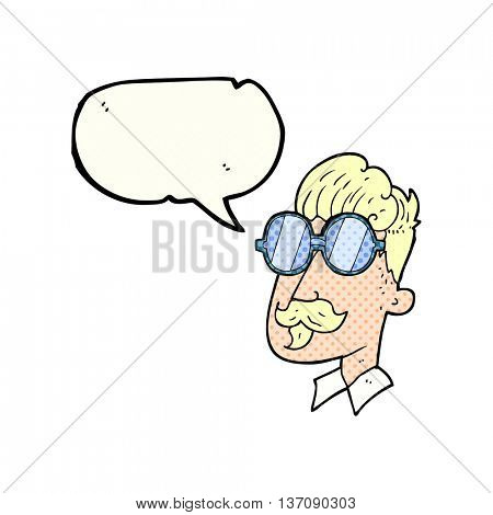 freehand drawn comic book speech bubble cartoon man with mustache and spectacles