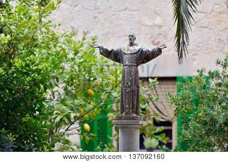 Statue Of Saint Francis Of Assisi Sanctuary De Nostra Senyora De Cura, Puig De Randa, Mallorca, Bale