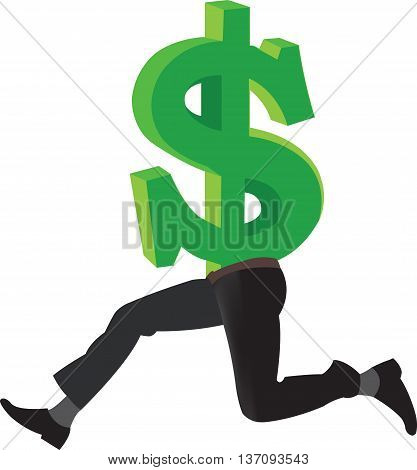 American currency dollar symbol with legs American currency dollar