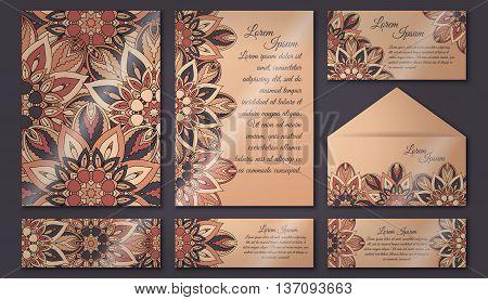 Invitation Cards Set. Vintage Decorative Elements. Islam, Arabic, Indian, Ottoman Motifs.