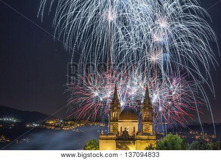Fireworks at Sao Torcato ( Romaria Grande ) , Guimaraes Portugal