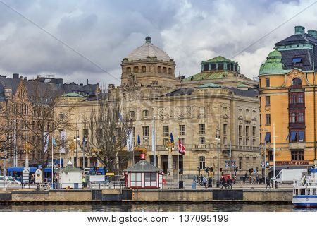 Stockholm, Sweden - March 30, 2016: The Royal Dramatic Theatre is located at Nybroplan and was founded in 1788.