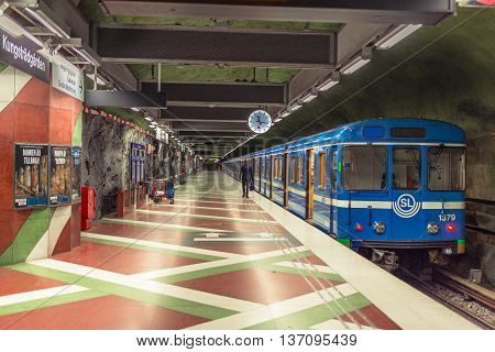 Stockholm Sweden - March 31 2016: Stockholm subway. Interior of Radhuset station. Radhuset metro station.