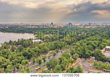 Bucharest, Romania - June 28, 2015: Bucharest City At Sunset. Bucharest  Is The Capital And Largest