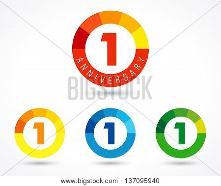 1 year anniversary chart logo. Vector set of number one year anniversary, 1st birthday icons in circle colored charts