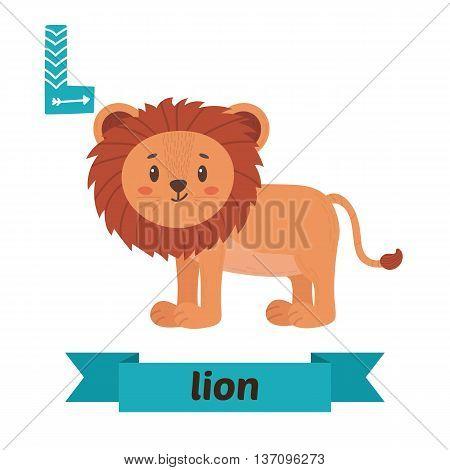 Lion. L Letter. Cute Children Animal Alphabet In Vector. Funny Cartoon Animals
