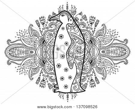 Ornament penguin vector. Beautiful illustration penguin for design, print clothing, stickers, tattoos, Adult Coloring book. Hand drawn animal illustration. Penguin lace ornamental