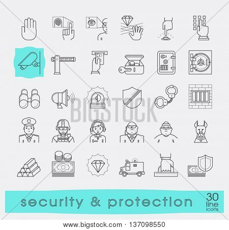 Set of premium quality line security and protection icons. Collection of web safety icons. Vector illustration.