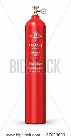 3D illustration of red metal steel liquefied compressed natural propane gas LNG or LPG container or cylinder with high pressure gauge meter and valve isolated on white background