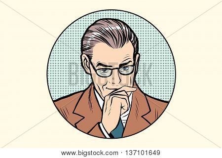 The thinker thinking man pose in the circle pop art retro vector