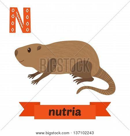 Nutria. N Letter. Cute Children Animal Alphabet In Vector. Funny Cartoon Animals