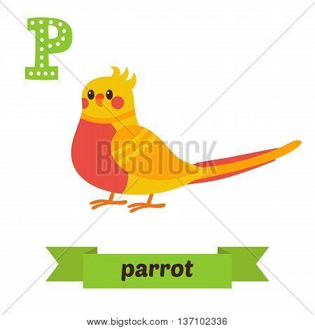 Parrot. P Letter. Cute Children Animal Alphabet In Vector. Funny Cartoon Animals