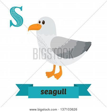 Seagull. S Letter. Cute Children Animal Alphabet In Vector. Funny Cartoon Animals